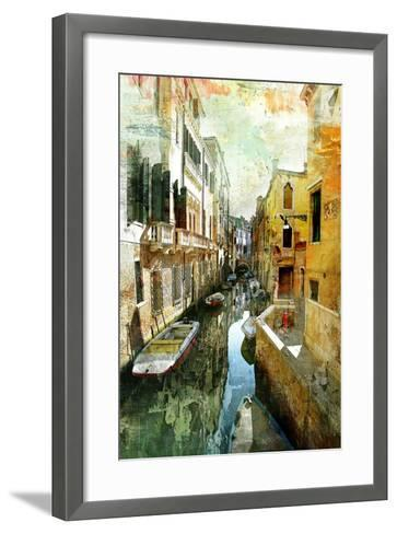Pictorial Venetian Streets - Artwork In Painting Style-Maugli-l-Framed Art Print