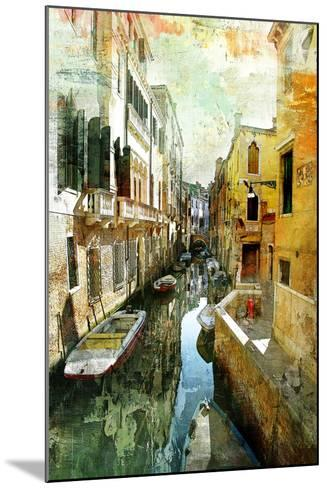 Pictorial Venetian Streets - Artwork In Painting Style-Maugli-l-Mounted Art Print