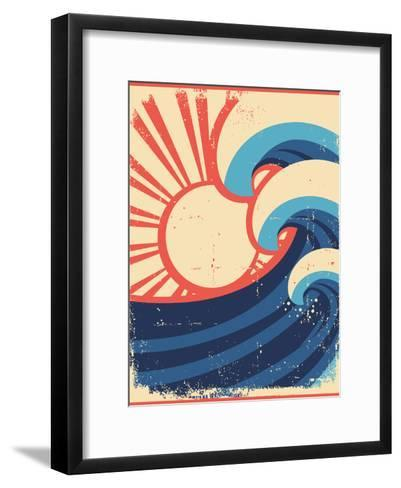 Sea Waves Poster.Grunge Illustration Of Sea Landscape-GeraKTV-Framed Art Print