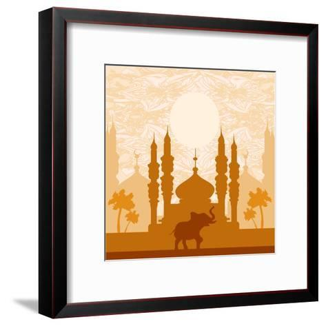 India Background,Elephant, Building And Palm Trees-JackyBrown-Framed Art Print