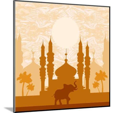 India Background,Elephant, Building And Palm Trees-JackyBrown-Mounted Art Print