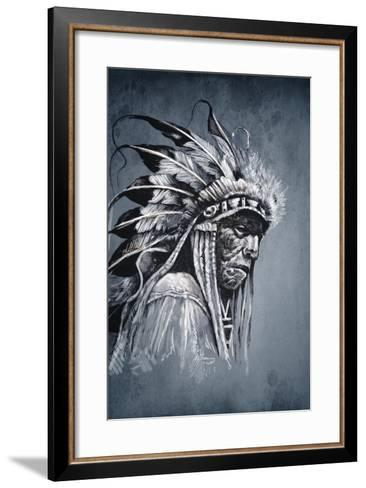 Native American Indian Head, Chief, Vintage Style-outsiderzone-Framed Art Print