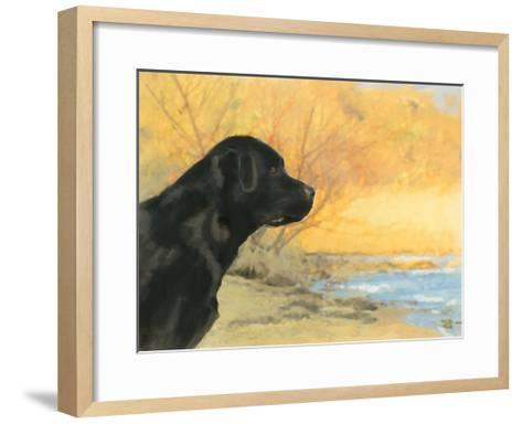 Oil Painting Portrait Of Black Labrador In Autumn-Yarvet-Framed Art Print