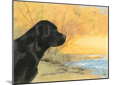 Oil Painting Portrait Of Black Labrador In Autumn-Yarvet-Mounted Art Print