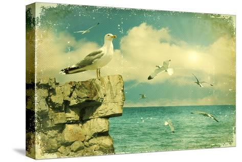 Seagulls In The Sky.Vintage Nature Seascape Background-GeraKTV-Stretched Canvas Print