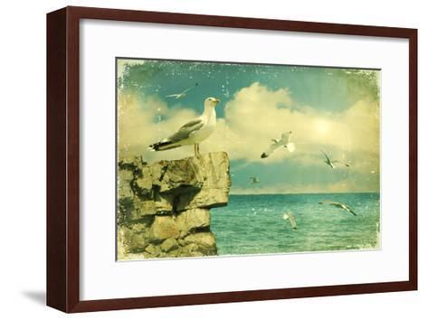 Seagulls In The Sky.Vintage Nature Seascape Background-GeraKTV-Framed Art Print