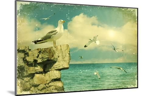 Seagulls In The Sky.Vintage Nature Seascape Background-GeraKTV-Mounted Art Print
