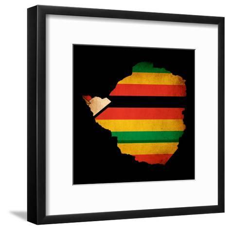 Map Outline Of Zimbabwe With Flag Grunge Paper Effect-Veneratio-Framed Art Print