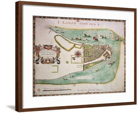 New York Old Map. By Unknown Author, Published 1664-marzolino-Framed Art Print