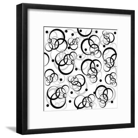 Pattern With Black Circles On White Background-hibrida13-Framed Art Print
