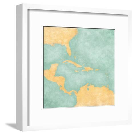 Map Of Caribbean - Blank Map (Vintage Series)-Tindo-Framed Art Print