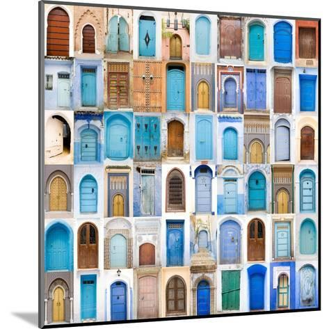 Very Old, Blue And Golden Doors Of Morocco-charobna-Mounted Art Print