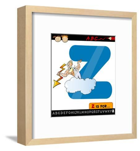 Letter Z With Zeus Cartoon Illustration-Igor Zakowski-Framed Art Print