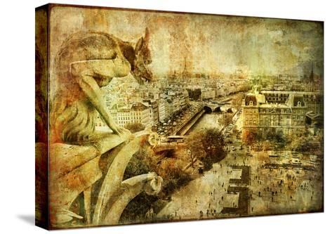 View Of Paris From Notre Dame - Artwork In Retro Style-Maugli-l-Stretched Canvas Print