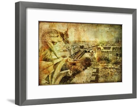 View Of Paris From Notre Dame - Artwork In Retro Style-Maugli-l-Framed Art Print