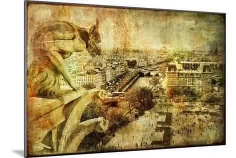 View Of Paris From Notre Dame - Artwork In Retro Style-Maugli-l-Mounted Art Print