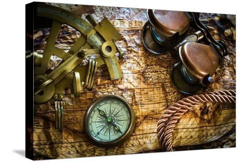 Vintage Still Life With Compass,Sextant And Old Map-scorpp-Stretched Canvas Print