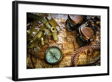 Vintage Still Life With Compass,Sextant And Old Map-scorpp-Framed Art Print
