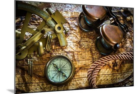 Vintage Still Life With Compass,Sextant And Old Map-scorpp-Mounted Art Print