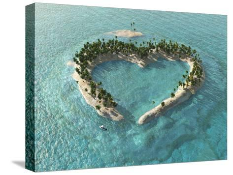 Aerial View Of Heart-Shaped Tropical Island-Mike_Kiev-Stretched Canvas Print
