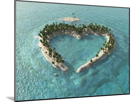 Aerial View Of Heart-Shaped Tropical Island-Mike_Kiev-Mounted Art Print