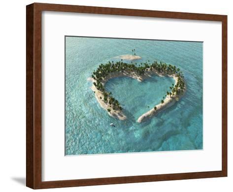Aerial View Of Heart-Shaped Tropical Island-Mike_Kiev-Framed Art Print