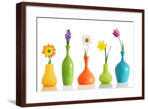 Spring Flowers In Vases Isolated On White-Acik-Framed Art Print