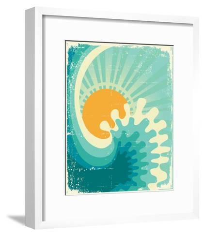 Wave In Ocean.Water Nature Background With Sun.Vintage-GeraKTV-Framed Art Print