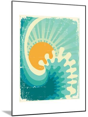 Wave In Ocean.Water Nature Background With Sun.Vintage-GeraKTV-Mounted Art Print
