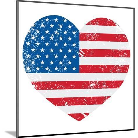 United States On America Retro Heart Flag-RedKoala-Mounted Art Print