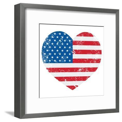 United States On America Retro Heart Flag-RedKoala-Framed Art Print