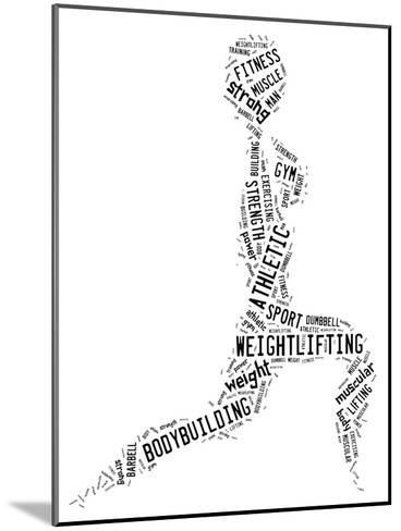 Weighlifting Pictogram With Black Wordings-seiksoon-Mounted Art Print