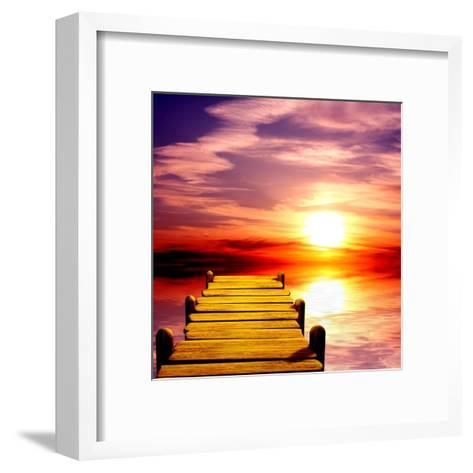 Fantasy Beautiful Sunset And Wooden Pier-frenta-Framed Art Print