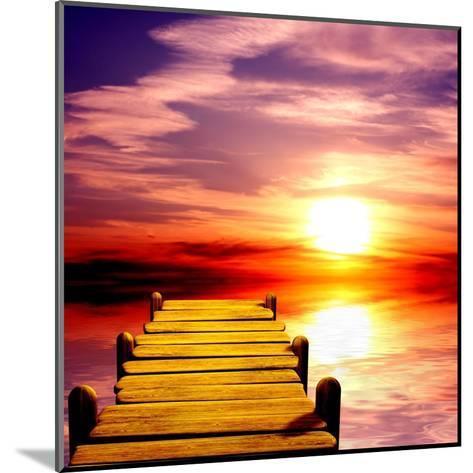 Fantasy Beautiful Sunset And Wooden Pier-frenta-Mounted Art Print