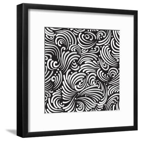 Abstract Black And White Background, Seamless Pattern-Olga Lebedeva-Framed Art Print