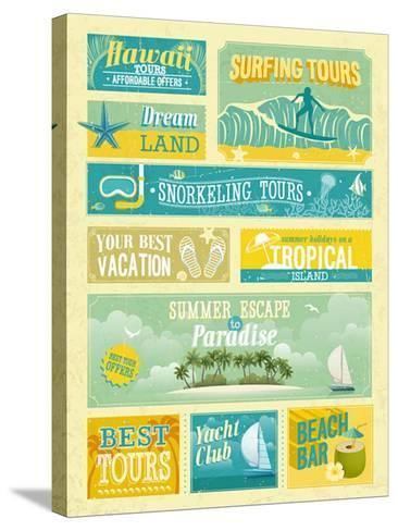 Vintage Summer Holidays And Beach Advertisements-avean-Stretched Canvas Print