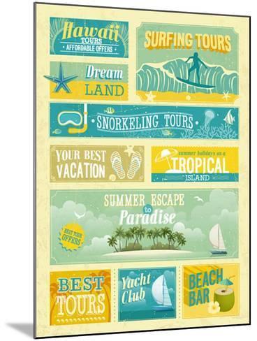 Vintage Summer Holidays And Beach Advertisements-avean-Mounted Art Print