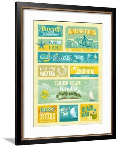 Vintage Summer Holidays And Beach Advertisements-avean-Framed Art Print