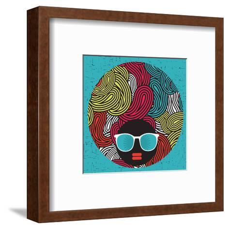 Black Head Woman With Strange Pattern Hair-panova-Framed Art Print