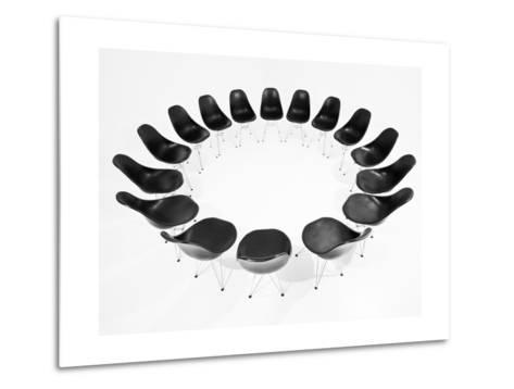 Black Chairs In A Circle Isolated On White Background-gemenacom-Metal Print