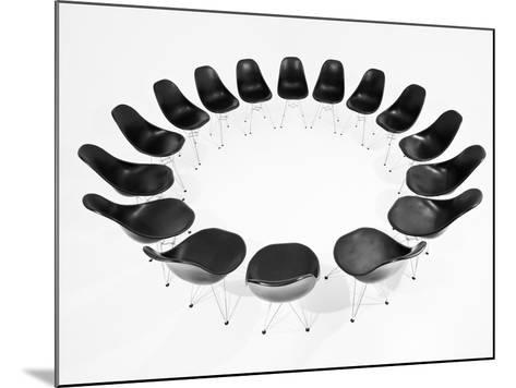 Black Chairs In A Circle Isolated On White Background-gemenacom-Mounted Art Print
