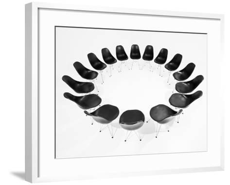 Black Chairs In A Circle Isolated On White Background-gemenacom-Framed Art Print