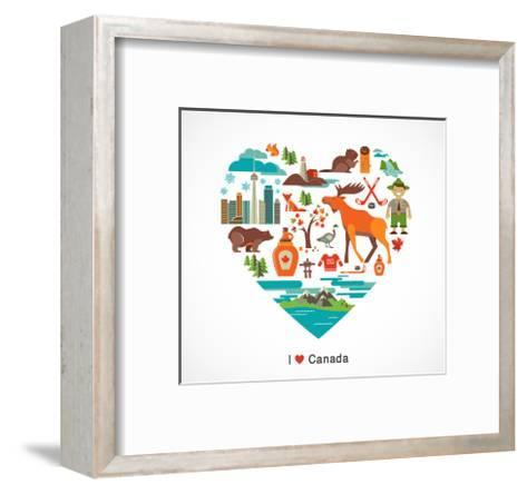 Canada Love - Heart With Many Icons And Illustrations-Marish-Framed Art Print