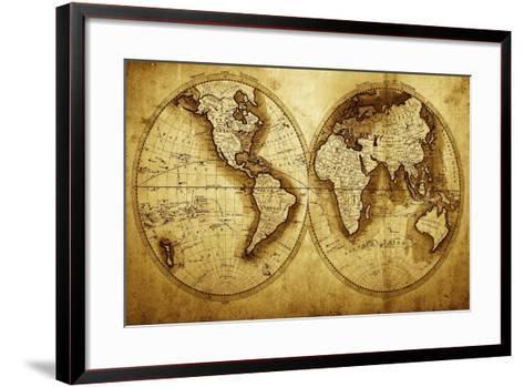 Antique Map Of The World (Circa 1711 Year)-Oleg Golovnev-Framed Art Print
