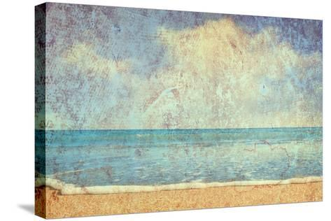 Beach And Sea On Paper Texture Background-Gladkov-Stretched Canvas Print