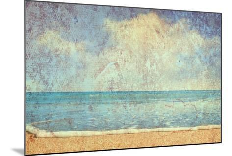 Beach And Sea On Paper Texture Background-Gladkov-Mounted Art Print