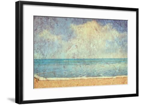 Beach And Sea On Paper Texture Background-Gladkov-Framed Art Print