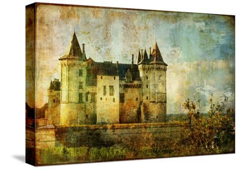 Beautiful Saumur Castle - Vintage Picture-Maugli-l-Stretched Canvas Print