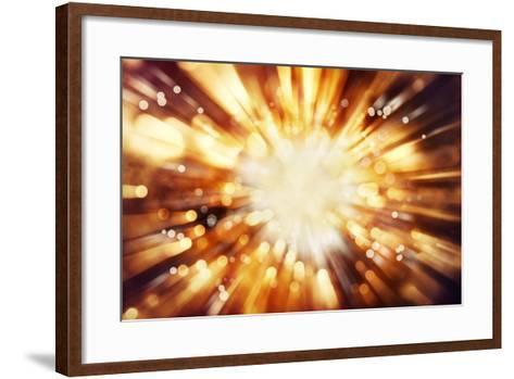 Bright Blast Of Light In Space Background-STILLFX-Framed Art Print