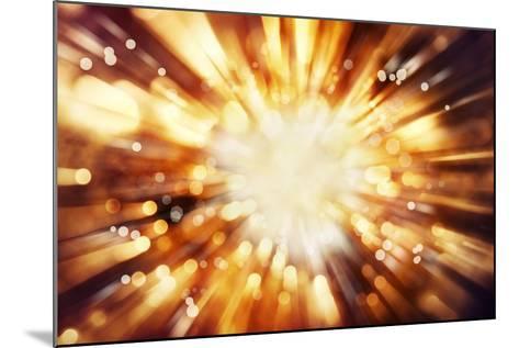 Bright Blast Of Light In Space Background-STILLFX-Mounted Art Print